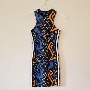 .Topshop//Geometric High Neck Bosycon Dress